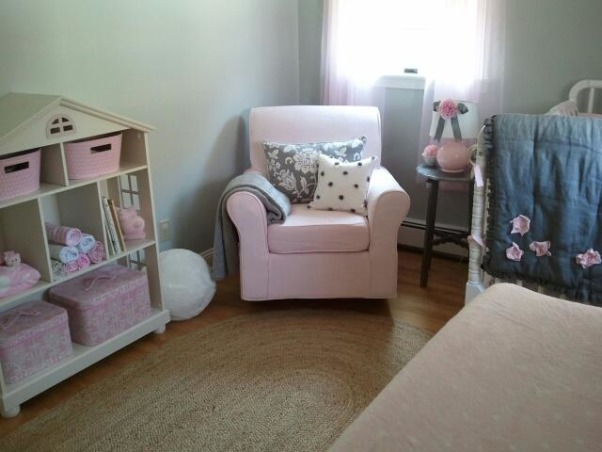 pink and grey nursery, This is my baby girl's tiny nursery.  This room was difficult to work with because of such limited space, but I think i made it work! I'm happy with the results, and really enjoy spending time here. This is one of my favorite color schemes:) , I love this rocker! , Nurseries Design