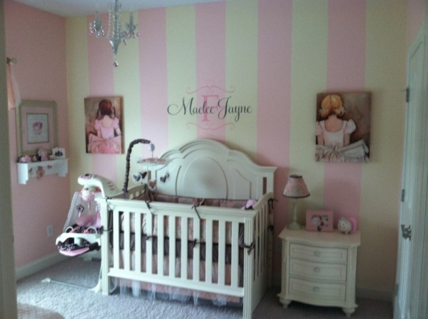 Baby Girl Nursery, Pink, White, Cream, Off White, , Nurseries Design