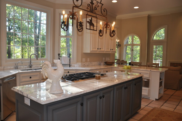 Modern French Marble Kitchen, We loved the layout of our kitchen but it needed updating from the 1980's tile counter tops and colors. Thanks to Vision Works Construction 404-837-1492 http://www.visionworksconstruction.com/id67.html, Antique French chandelier , Kitchens Design