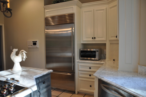 "Modern French Marble Kitchen, We loved the layout of our kitchen but it needed updating from the 1980's tile counter tops and colors. Thanks to Vision Works Construction 404-837-1492 http://www.visionworksconstruction.com/id67.html, 36"" SubZero over under refrigerator / freezer , Kitchens Design"