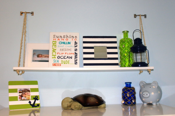 Nautical surfer room, I re-did my sons room to better fit his personality. My goal was to re-purpose as much as possible and spend as little money as possible. I wanted a theme, but not theme overload. I think my end result is a nice balance and we love it., DIY shelf, Boys' Rooms Design