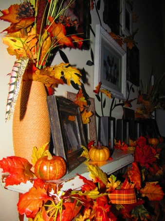 Tricks and Treats!, Decorating for the Holidays is one my favorite things to do! Many of my ideas were inspired by HGTV and other Rate My Space members. These are my new creations for this Fall and Halloween., Mantle decorated for Fall, Holidays Design