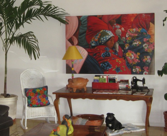 My Mexican Cottage, We recently moved to Mexico and as you can see, I still like a lot of color and clutter!, Original painting by a local artist.    , Living Rooms Design