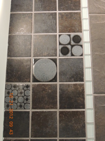 Circle Mozaic with frosted glass, designer tiles, Bathrooms Design