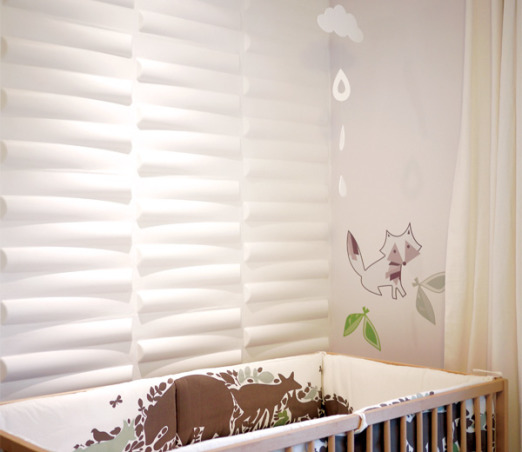 Baby Victor's Modern Nursery, Oh what fun! I am so glad to be here today sharing photos from my latest project, baby Victor's nursery. The space feels so airy, but cozy. There is a beautiful texture wall made from wood and white 3D wall tiles. A little bit of green, some gray and a touch of red brings life to the space. The room is a continuation of the design style of my home. But here it has a whimsical feel. With lion and horse figures, animal art prints, and a fox decal, this nursery is a woodland heaven.  Here is a list of where you can find all the lovely items in this nursery:  - Crib: IKEA  - Curtains: Pottery Barn  - Red V Metal Letter: Pottery Barn Teen  - Animal Art Prints: Sharon Montrose  - Print Frames: Target  - Crib Bumper: Dwell Studio  - Elephant Photo Frame: Dwell Studio  - 3D Wall Tiles: 2Modern.com  - ABC and Number Canvasses: TrendyPeas.com  - Cloud Mobile: TrendyPeas.com  - Fox Decal: TrendyPeas.com, Nurseries Design