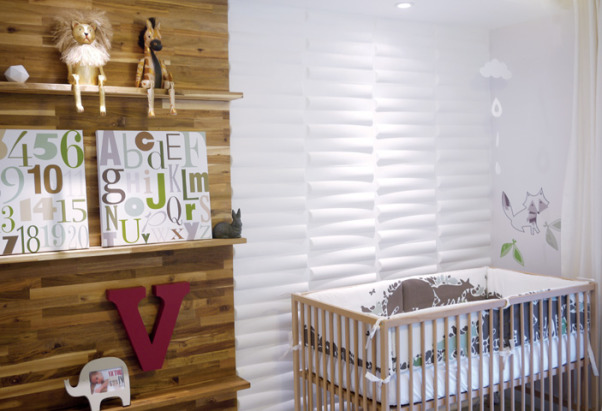 Baby Victor's Modern Nursery, Oh what fun! I am so glad to be here today sharing photos from my latest project, baby Victor's nursery. The space feels so airy, but cozy. There is a beautiful texture wall made from wood and white 3D wall tiles. A little bit of green, some gray and a touch of red brings life to the space. The room is a continuation of the design style of my home. But here it has a whimsical feel. With lion and horse figures, animal art prints, and a fox decal, this nursery is a woodland heaven.  Here is a list of where you can find all the lovely items in this nursery:  - Crib: IKEA  - Curtains: Pottery Barn  - Red V Metal Letter: Pottery Barn Teen  - Animal Art Prints: Sharon Montrose  - Print Frames: Target  - Crib Bumper: Dwell Studio  - Elephant Photo Frame: Dwell Studio  - 3D Wall Tiles: 2Modern.com  - ABC and Number Canvasses: TrendyPeas.com  - Cloud Mobile: TrendyPeas.com  - Fox Decal: TrendyPeas.com, The whole concept for the room was a space that could be easily transformed from a nursery, to a toddler room, and so on. So I focused on creating a space that could be multifunctional. I wanted to be able to replace the crib for a bed without having to completely re-do the room. My idea was to create a focal wall as a backdrop for the crib. For that wall, I used 3d wall tiles in white, that bring movement and a lot of interest to the nursery. Once it is time to replace the crib with his bed, this focal wall, will serve as a beautiful headboard. , Nurseries Design