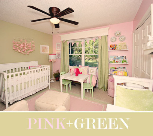 "Pink and Green Nursery, This is my daughters pink and green nursery.  For more pictures and to follow along with all of our updates, visit our blog:  www.GrownFromScratch.com  Thanks for looking!, This is our daughters pink and green nursery.  Follow our renovation at:  <a href=""http://www.GrownFromScratch.com  *note:"">www.GrownFromScratch.com  *note:</a>  the fan clearly doesnt go, this is a process.  Please be nice :- , Girls' Rooms Design"