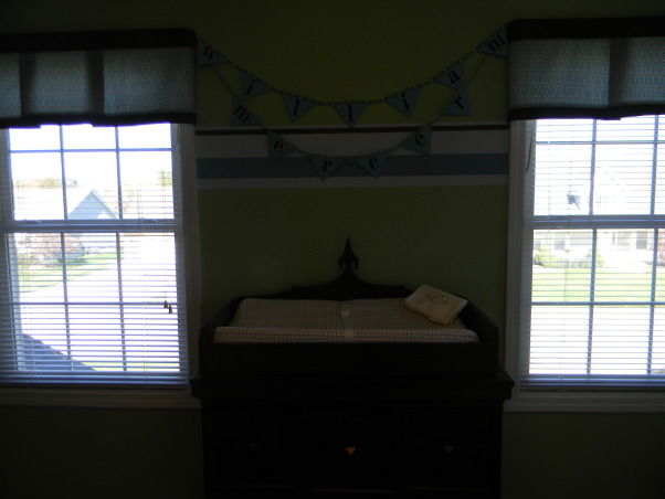 Mercer's Inherited Nursery, This is the nursery that Mercer inherited from his big brother.  We updated the decor a bit and added some new projects., Pennant used in maternity photos over changing table/dresser made by Mercer's dad, Nurseries Design