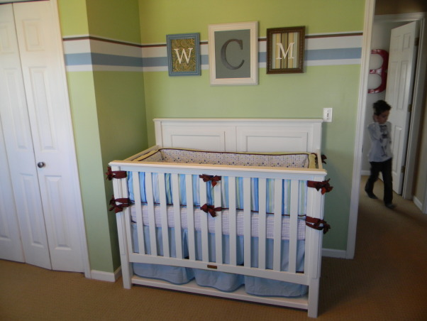 Mercer's Inherited Nursery, This is the nursery that Mercer inherited from his big brother.  We updated the decor a bit and added some new projects., Crib and monogram , Nurseries Design