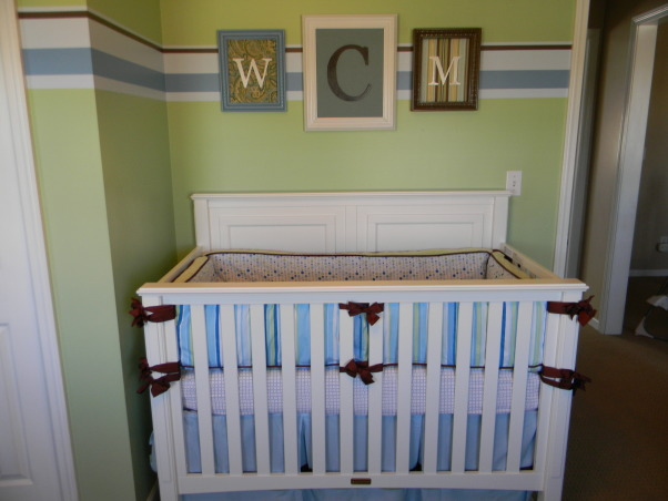 Mercer's Inherited Nursery, This is the nursery that Mercer inherited from his big brother.  We updated the decor a bit and added some new projects., Molding and fabric used to make framed monogram, Nurseries Design