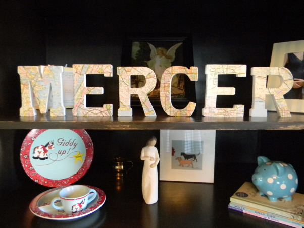 Mercer's Inherited Nursery, This is the nursery that Mercer inherited from his big brother.  We updated the decor a bit and added some new projects., Old maps decoupaged onto wooden letters, Nurseries Design