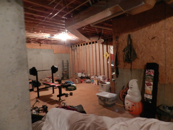 Western Basement Home Office, This is a basement space where I created my husband's home office.  It has a suspended tin ceiling, horse tapestry from Italy, Antiques, Family Heirlooms, Frederic Remington sculptures, handmade bookcase, wagonwheel chandelier, Western Style because my husband is a Farrier., Basement space BEFORE the renovation!, Basements Design