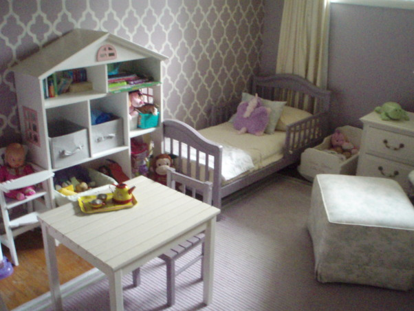 Tiny Toddler Transformation, This room was put together over the course of a year and with a very small budget (less than $800 total).  Every inch of the room was painted during my pregnancy with my third child.  The furniture was reused from our son's nursery, Craigslisted, or diy-ed.  If there was anything that could be reused, refashioned, re-imagined, it was. This tiny 8.5' x 11' was a labor of love.  Our daughter enjoys her room very much and most things are just her size.  You can see more of this transformation at the blog, DecorumDIYer.wordpress.com  : http://wp.me/p12yAb-wO , The small 8.5' x 11' room incorporates all of our daughter's playtime needs, as we do not have a separate playroom in our home.  http://wp.me/p12yAb-wO           , Girls' Rooms            Design