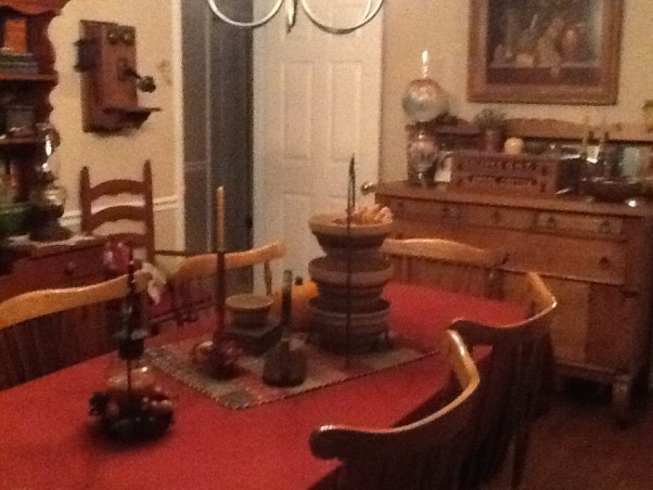 Antiques Galore, I love antiques as you can see. Enjoy finding them and incorporating them into my home. Hope you enjoy it as much as I do!, This shows the antique phone on the wall. Love that ladder back chair also.    , Dining Rooms Design