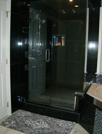 Master Bath, Renovated master bath using black galaxy granite in the shower stall, tub, and vanity; accented by mosaic tiles in the ceiling and tub surround, with white marble flooring. , Bathrooms Design