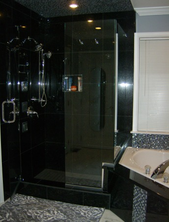Master Bath, Renovated master bath using black galaxy granite in the shower stall, tub, and vanity; accented by mosaic tiles in the ceiling and tub surround, with white marble flooring. , Master bath shower stall, Bathrooms Design