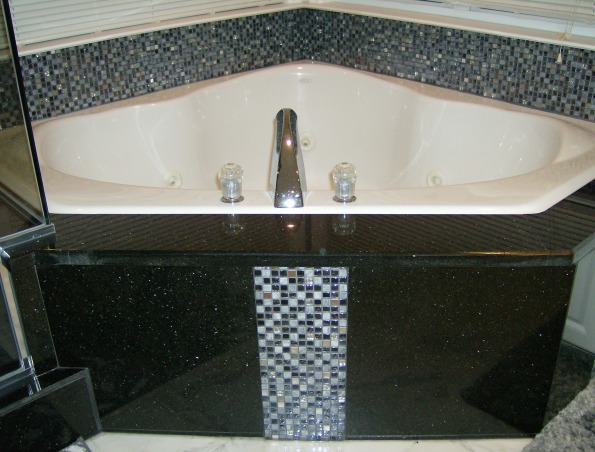 Master Bath, Renovated master bath using black galaxy granite in the shower stall, tub, and vanity; accented by mosaic tiles in the ceiling and tub surround, with white marble flooring. , spa tub , Bathrooms Design