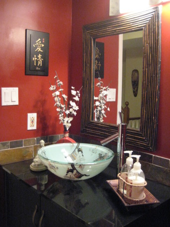 Asian Inspired Powder Room, When we were about to reno our three bathrooms (yes, we did all three within 2 months on a very minimal budget), my husband had a marvelous idea of wanting an Asian themed bathroom.  So, after some research and lots of creativity, this is what I came up with.  This bathroom, actually, none of the bathrooms had windows so there isn't any natural light coming in.  At first the red on the wall looked very bold, but as I added the accessories and everything came together, i was happy with the end result.  Hope ya'll like it!, Bathrooms Design
