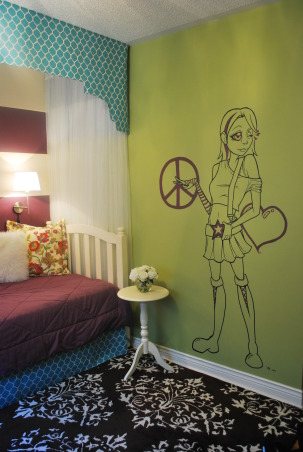 My Daughter's Bedroom, Tween girl's room. Bold stripes and canopy daybed. Cool mural., This room was a surprise for my daughter when she returned from summer camp. She loved it! Her big sister painted the mural.  , Girls' Rooms Design