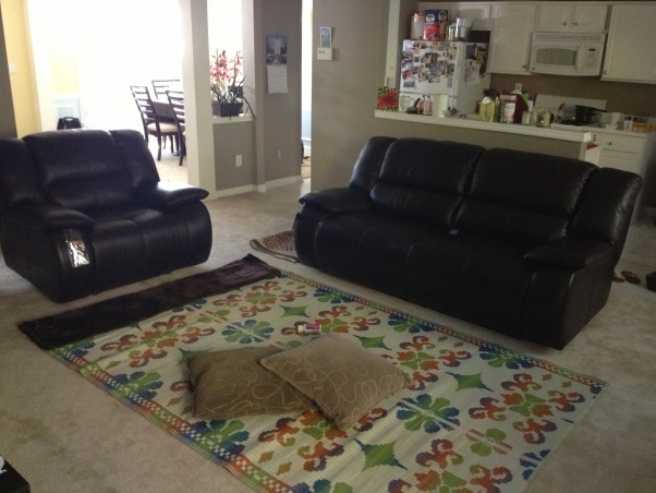 Just the beginning , It's a town home and the living room is about 20' * 15' and I would love to know if my leather reclining sofa and chair is way big for this room. I used to have a sectional and now I feel that the recliners are too big or I just need a little getting used to maybe after I complete it with an area rug n coffee table set., Living Rooms Design