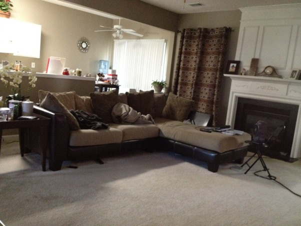Just the beginning , It's a town home and the living room is about 20' * 15' and I would love to know if my leather reclining sofa and chair is way big for this room. I used to have a sectional and now I feel that the recliners are too big or I just need a little getting used to maybe after I complete it with an area rug n coffee table set., Old furniture!, Living Rooms Design