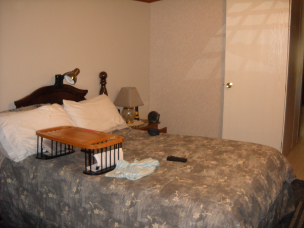 Gray, square room, gray wallcovering, blue carpet which doesn't help. , Gray bedding, gray mottled walls, Bedrooms Design