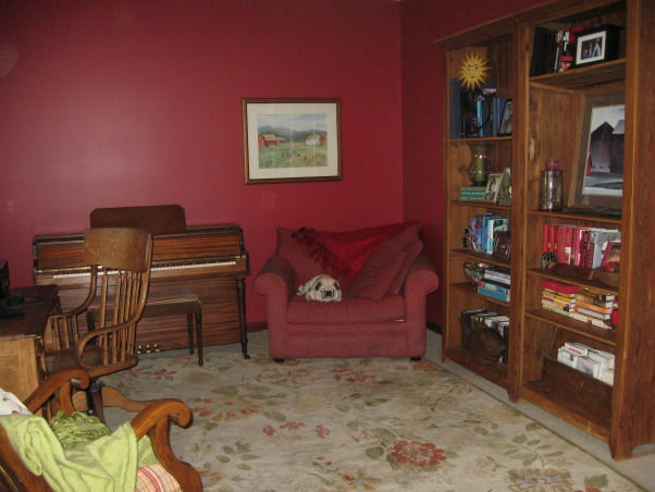 Please help with this multi-purpose office. , This is our computer room and piano room. It is almost always in use and it is in the front of the house so it is visible from the voyer., I have no problem giving up the red chair, but the pug might! , Home Offices Design
