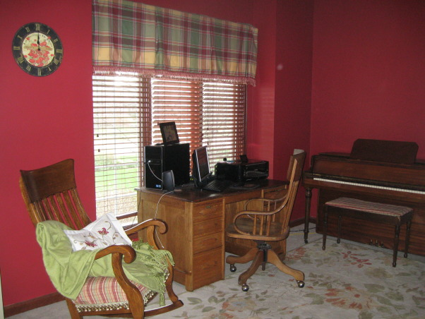 Please help with this multi-purpose office. , This is our computer room and piano room. It is almost always in use and it is in the front of the house so it is visible from the voyer., I would really like to make some new window treatments, just not sure what.  , Home Offices Design
