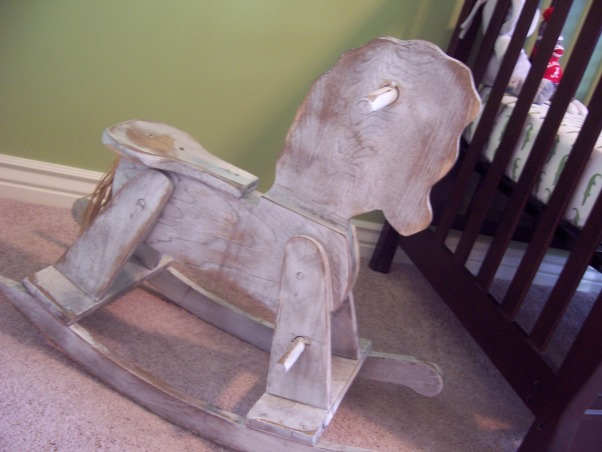 Green & Navy Blue Nursery, This is my son's nursery. I didn't want to use a theme for the room so I decided to pick two colors and work with them instead. , I found this rocking horse at a consignment store for $20., Nurseries Design