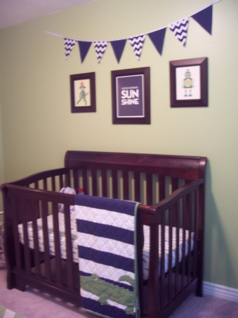 Green & Navy Blue Nursery, This is my son's nursery. I didn't want to use a theme for the room so I decided to pick two colors and work with them instead. , I opted out of doing bumpers in the crib- they are a pain to wash!, Nurseries Design