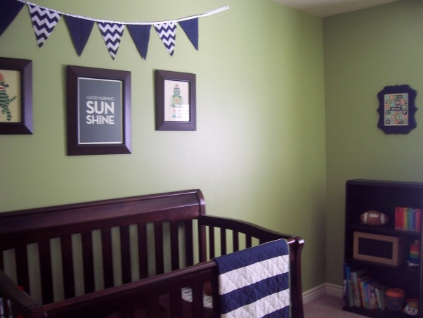 Green & Navy Blue Nursery, This is my son's nursery. I didn't want to use a theme for the room so I decided to pick two colors and work with them instead. , Nurseries Design