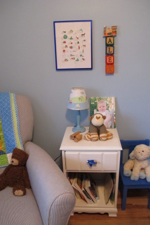 "Tiny, Budget Friendly, Sweet and Simple Baby Boy Room, When I was expecting my son I didn't want a ""themed"" room and I didn't want brown in the bedding, which was all that I could find.  I am not a designer, but I got tons of inspiration from looking at nurseries on Rate My Space and other websites.  Most of the furniture and the rug were found on Craigslist and the bedding and curtains were designed and made by me.  The quilt was a gift and was designed to match.  The room is only 8x8 feet.  We love how sweet and simple it turned out and it has served us well.  I wanted to take pictures and document it because it has been such a special space and we are getting ready to move into a big boy room to be shared with a new brother., German Animal Alphabet art from Children Inspire Design.  Nightstand found at a thrift store and painted by Grandma.  Transportation lamp purchased at a consignment sale.     , Nurseries Design"