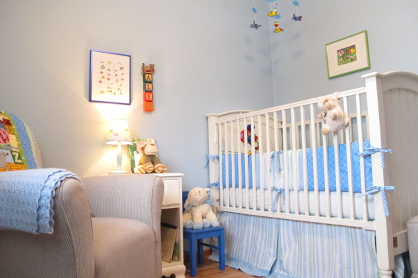 "Tiny, Budget Friendly, Sweet and Simple Baby Boy Room, When I was expecting my son I didn't want a ""themed"" room and I didn't want brown in the bedding, which was all that I could find.  I am not a designer, but I got tons of inspiration from looking at nurseries on Rate My Space and other websites.  Most of the furniture and the rug were found on Craigslist and the bedding and curtains were designed and made by me.  The quilt was a gift and was designed to match.  The room is only 8x8 feet.  We love how sweet and simple it turned out and it has served us well.  I wanted to take pictures and document it because it has been such a special space and we are getting ready to move into a big boy room to be shared with a new brother., The Airplane mobile has been a hit! :-)     , Nurseries Design"