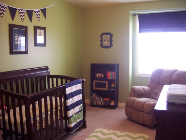 Green & Navy Blue Nursery, This is my son's nursery. I didn't want to use a theme for the room so I decided to pick two colors and work with them instead. , Crib and dresser are from Target. Bedding, valance and rug are from Pottery Barn., Nurseries Design
