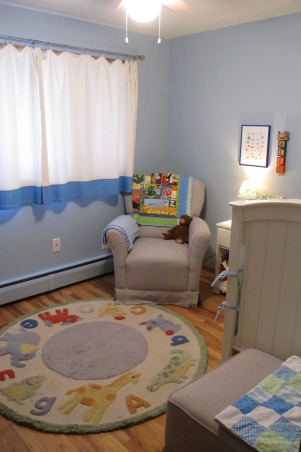 "Tiny, Budget Friendly, Sweet and Simple Baby Boy Room, When I was expecting my son I didn't want a ""themed"" room and I didn't want brown in the bedding, which was all that I could find.  I am not a designer, but I got tons of inspiration from looking at nurseries on Rate My Space and other websites.  Most of the furniture and the rug were found on Craigslist and the bedding and curtains were designed and made by me.  The quilt was a gift and was designed to match.  The room is only 8x8 feet.  We love how sweet and simple it turned out and it has served us well.  I wanted to take pictures and document it because it has been such a special space and we are getting ready to move into a big boy room to be shared with a new brother., Wool Pottery Barn Animal rug purchased on Craigslist for $40.     , Nurseries Design"