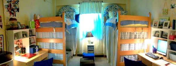 French Country Dorm, lofted beds for tv and futon and storage , Dorm Rooms Design