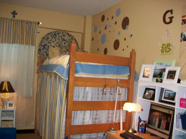 French Country Dorm, stickers were added to teh walls , Dorm Rooms Design