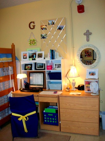 French Country Dorm, homemade bulletin boards and a hutch , Dorm Rooms Design