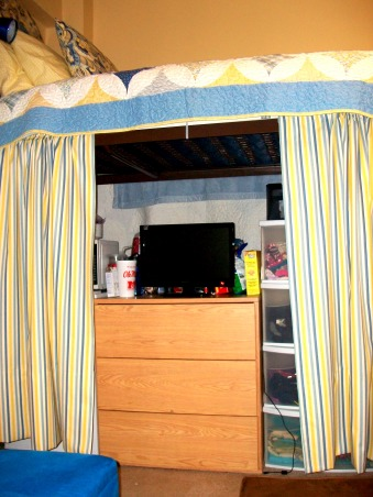 French Country Dorm, storage and tv across from the futon , Dorm Rooms Design