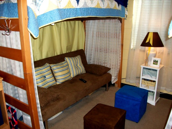 French Country Dorm, futon under lofted bed , Dorm Rooms Design