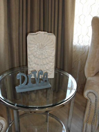 """Dreams Do Come True"", Tone on Tone, Linen and aged woods., Ceremic vase with DIVA sign, Bedrooms Design"