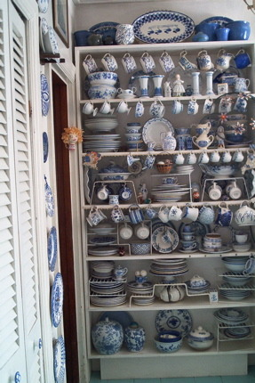 collections of blue and white china, this is a special bookcase full of blue and white china.  It varies over time as new pieces are acquired., Kitchens Design