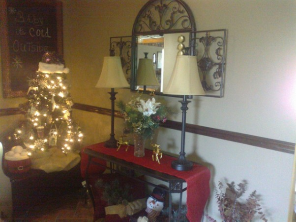 Baby it's Cold Outside...., Entry hallway from Garage to family room., Baby it's Cold Outside theme hallway.   , Holidays Design