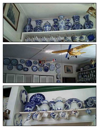 collections of blue and white china, above doorways and closets is a good use of space for the display of china (or other art works), Kitchens Design