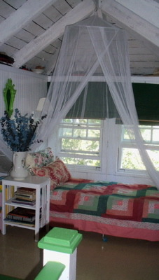 an  attic niche, small attic dormer sleeping space for summer.  , the netting was a gift.  The cot was a purchase and the rest was on hand to outfit this space, Bedrooms Design