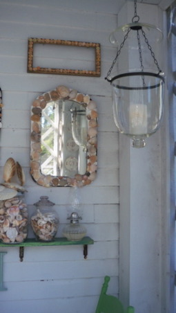 a shell decorated screened porch, shell trimmed mirror, Porches Design