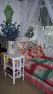 an  attic niche, small attic dormer sleeping space for summer.  , not much needed to outfit this summer bed, vintage quilt top, hand made pillow covers (designer fabrics) yard sale table and pitcher., Bedrooms Design
