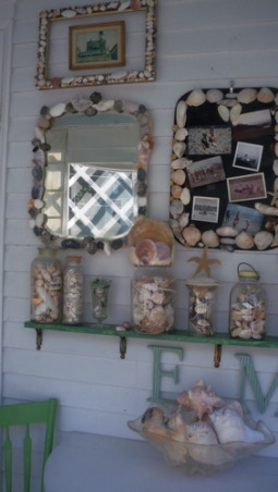 a shell decorated screened porch, collections of shells displayed, Porches Design