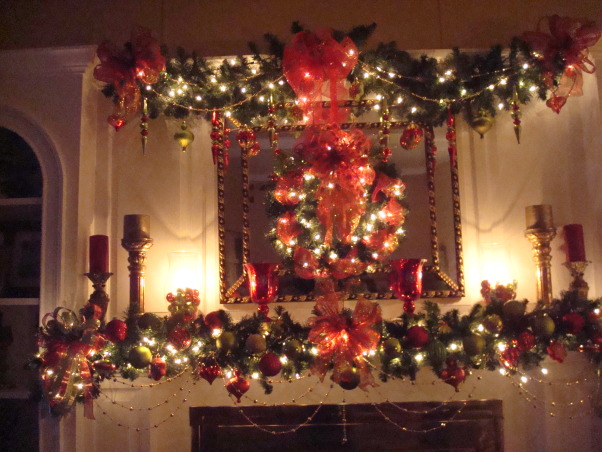 Christmas 2012, Christmas decorations for 2012, red and gold mantel  , Holidays Design