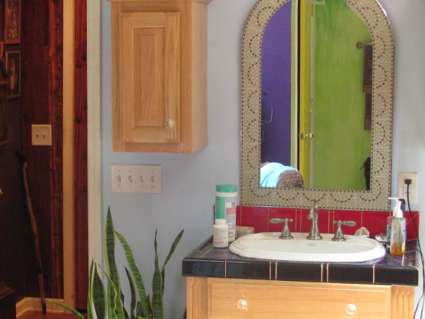 master bath, This is my master bath. A contractor built it, but I did all the finish work myself. It is very colorful, and I love it. It is my private domain., This is my husbands little space. He didn't need as much room as I did!, Bathrooms Design